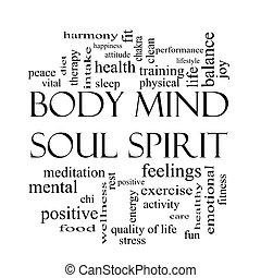 cuerpo, concepto, palabra, mente, alma, negro, blanco, espíritu, nube