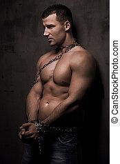 cuerpo, el suyo, encima, bien, joven, construya, modelo, macho, cadenas