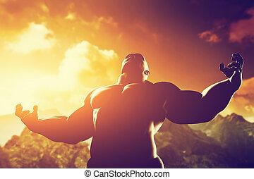 cuerpo, el suyo, potencia, atlético, héroe, muscular, forma, fuerza, expresar, hombre fuerte