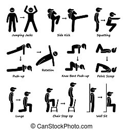 cuerpo, entrenamiento, tren, ejercicio, condición física