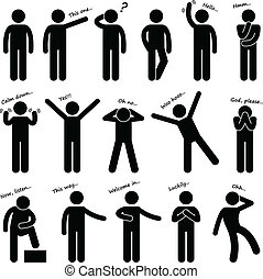 cuerpo, hombre, gente, idioma, postura