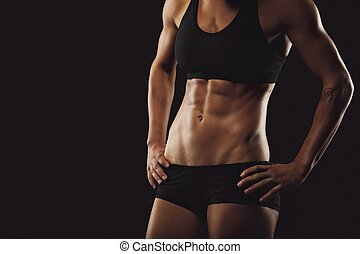 cuerpo, mujer, abs, muscular