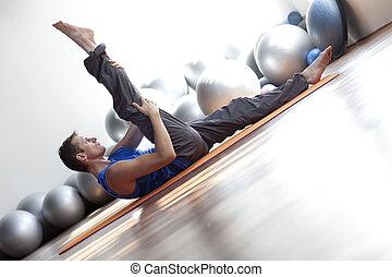 cuerpo, pilates, practicar, mente, -, fusión, hombre