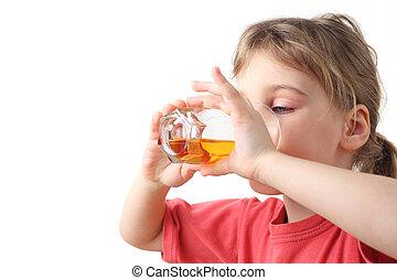 cuerpo, poco, camisa, vidrio, mitad, dos, jugo, él, manos de valor en cartera, niña, bebida, rojo