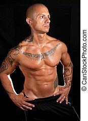 cuerpo, tatuajes, constructor
