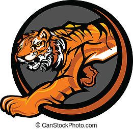 cuerpo, tigre, vector, mascota, gráfico