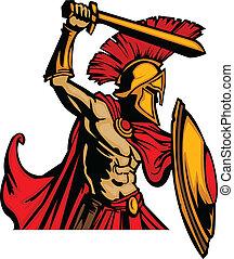 cuerpo, trojan, s, espada, mascota