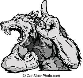cuerpo, vector, lobo, caricatura, mascota