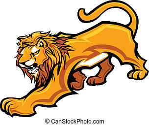 cuerpo, vector, mascota, gráfico, león