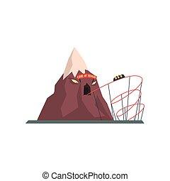 Cueva de terror con túnel para tranvía. Atracción extrema. Montaña con cara malvada. Parque de diversiones. Funfair o carnaval. Diseño de vectores planos para posters o folletos