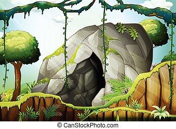 Cueva en el bosque profundo