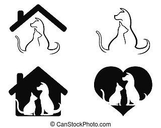 cuidado, mascota, símbolo, perro, gato