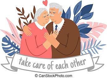 cuidado, pareja edad avanzada