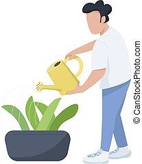 cuidado, plano, tela, aislado, macho, character., caricatura, animación, lata, jardinero, diseño, plantas, horticultor, vector, faceless, ilustración, hombre, gráfico, regar, color, arriate