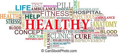cuidado, salud, nube, etiquetas