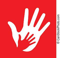 Cuidadosa mano en el fondo rojo