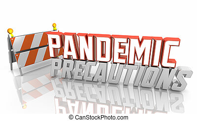 cuidadoso, ser, 3d, pandemia, advertencia, precauciones, seguro, muestra de la precaución, peligro, ilustración