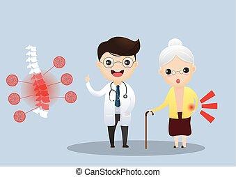 Cuidando a los ancianos. Doctor hablando con un paciente mayor sobre sus síntomas. Una anciana con osteoporosis. Vector, ilustración.