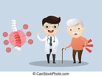 Cuidando a los ancianos. Doctor hablando con un paciente mayor sobre sus síntomas. Viejo con osteoporosis. Vector, ilustración.