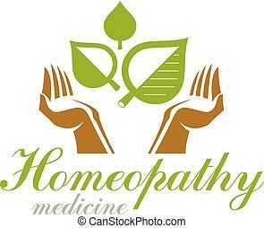 Cuidando las manos sosteniendo hojas de primavera verdes. Logo abstracto de rehabilitación médica.