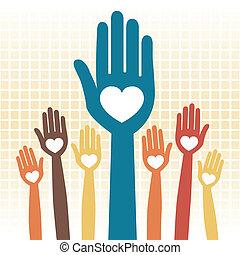 Cuidar el diseño de manos amorosas.