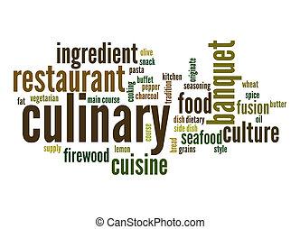 culinario, palabra, nube