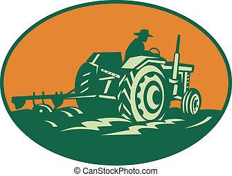 cultive trabajador, conducción, tractor, granjero