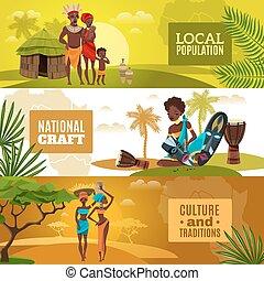 cultura, banderas horizontales, conjunto, plano, africano