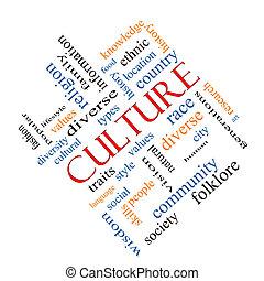 cultura, concepto, palabra, nube, angular