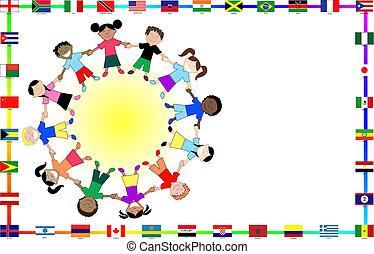 cultural, niños, banderas