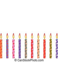cumpleaños, colorido, velas
