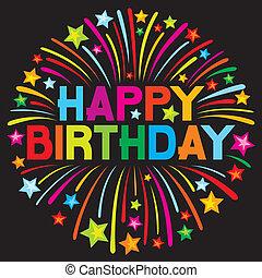 cumpleaños, fuego artificial, feliz