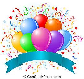 cumpleaños, globos, diseño