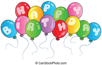 cumpleaños, globos, feliz