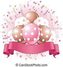 cumpleaños, globos, rosa, diseño