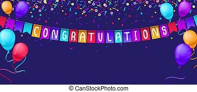 cumpleaños, globos, tarjeta, azul, saludo, etcétera, felicitaciones, fondo., vector, competiciones, festivo, aislado, bandera, fiesta, confeti, plantilla, ilustración