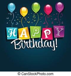 cumpleaños, ilustración, feliz