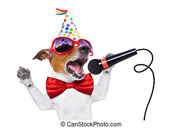 cumpleaños, perro, feliz, canto
