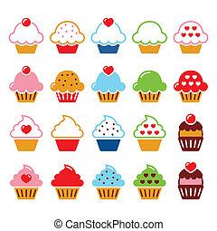 Cupcake con corazón, iconos de cereza