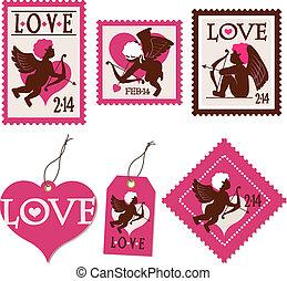 Cupidos sellos y etiquetas