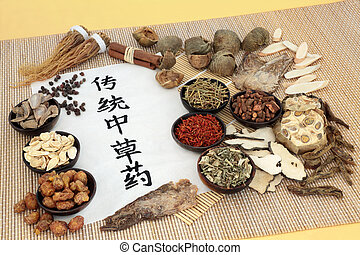 curación chino, hierbas, tradicional