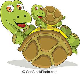 Curiosa tortuga de caricatura