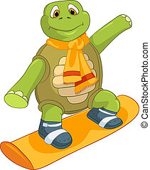Curiosa tortuga. snowboard.