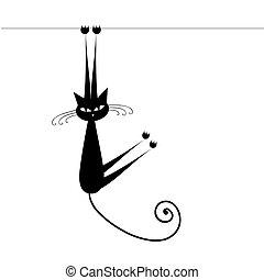 Curioso gato silueta negra para tu diseño