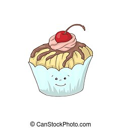 Curioso personaje de cupcake con relleno de crema rosa, ilustración de vectores de dibujos animados aislada en el fondo blanco.