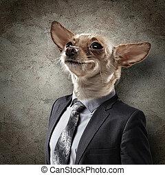 Curioso retrato de un perro con traje