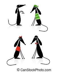 Curiosos perros negros silueta, colección para tu diseño