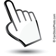 cursor, icono, mano, 3d