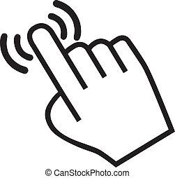 cursor, mano, icono