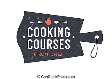 cursos, corte, cocina, cocina, board., logotipo